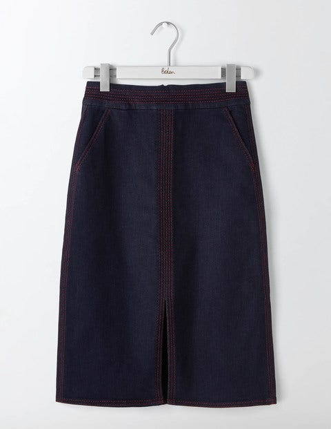 1960s Style Skirts Bloomsbury Denim Skirt Indigo Denim Women Boden Indigo Denim £65.00 AT vintagedancer.com