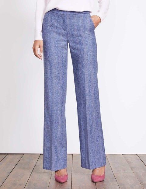 British Tweed Wide Leg Pants Blue and Ivory Herringbone Women Boden