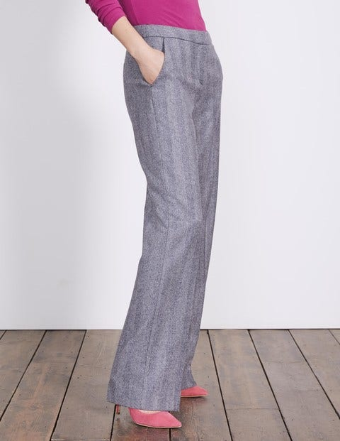 British Tweed Wideleg Trousers Navy and Ivory Herringbone Women Boden, Navy