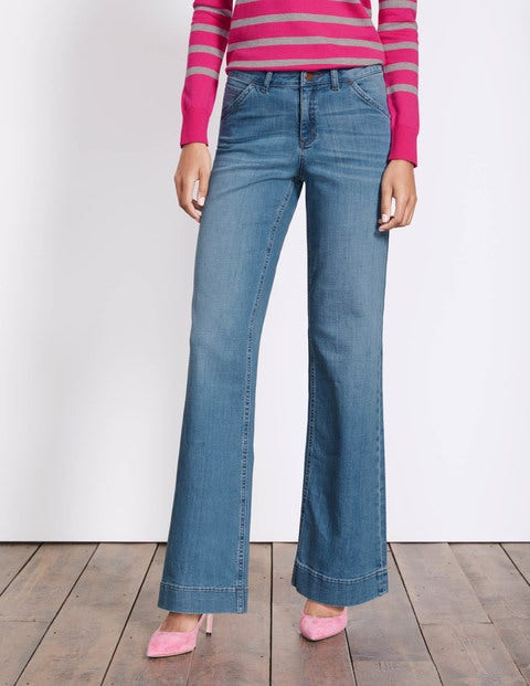 Windsor Wide Leg Jeans Mid Vintage Women Boden, Denim.
