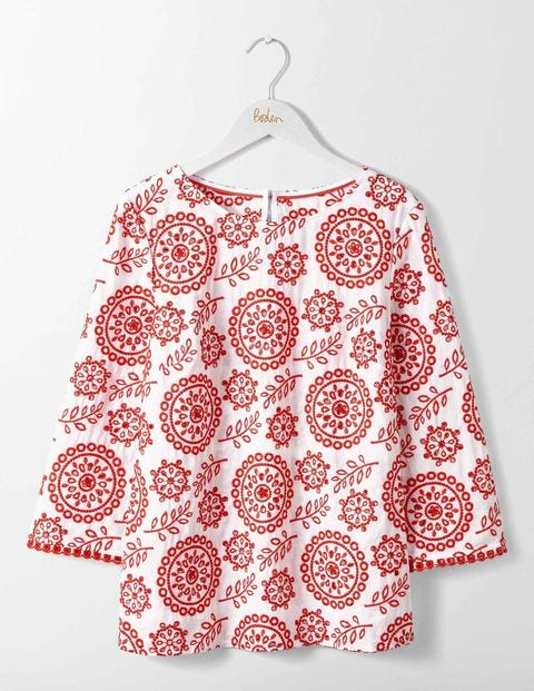 Mila Broderie Top Medallion and Leaf Broderie Women Boden