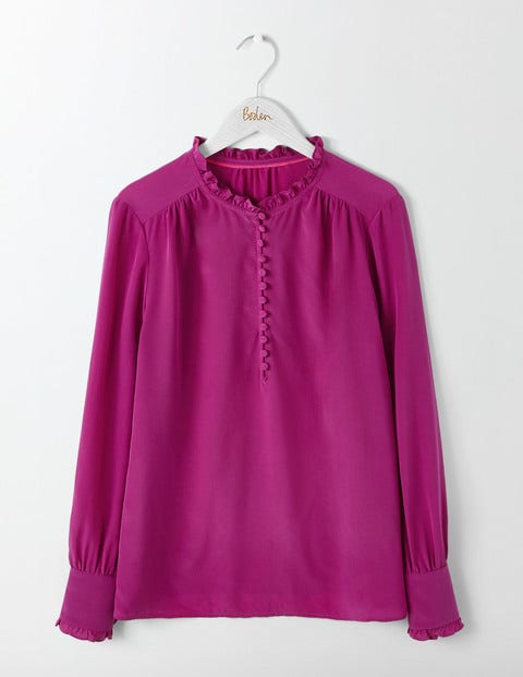 Ella Silk Blouse Fallen Fruit Women Boden, Purple.