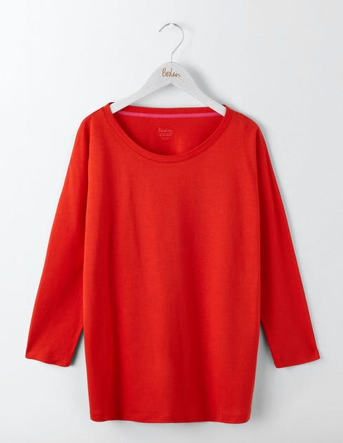 Supersoft Oversized Tee Post Box Red Women Boden