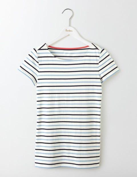 Short Sleeve Breton - Whitewash Blue Multi Stripe