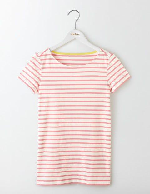 Short Sleeve Breton - Ivory/Pink Fizz