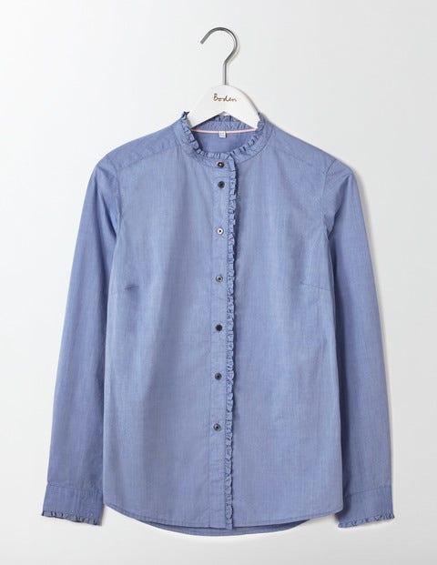 Virginie Ruffle Shirt Chambray Women Boden, Chambray