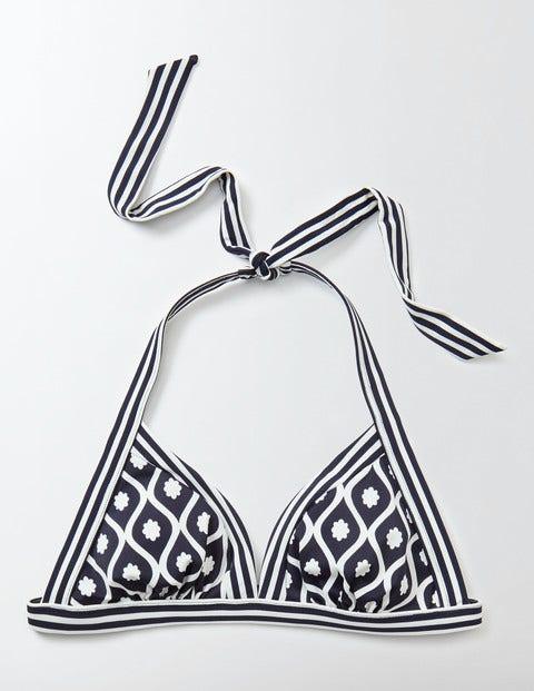 Ischia Halter Bikini Top Navy Floral Geo Women Boden Navy Floral Geo