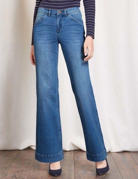 Women's 1960s Style Pants Windsor Wide Leg Jeans Lighter Vintage Women Boden Lighter Vintage £28.00 AT vintagedancer.com