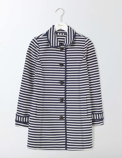 Constance Striped Coat NavyIvory Stripe Women Boden NavyIvory Stripe