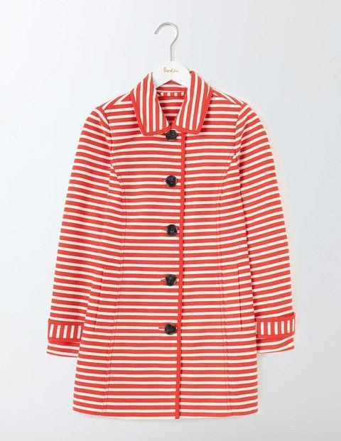Retro Vintage Style Coats, Jackets, Fur Stoles Constance Striped Coat SnapdragonIvory Stripe Women Boden SnapdragonIvory Stripe £144.00 AT vintagedancer.com