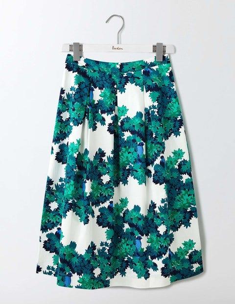Lola Skirt Green Botanical Bird Women Boden