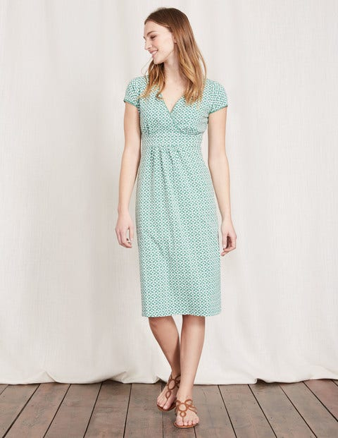 Casual Jersey Dress - Chalky Green Mosaic