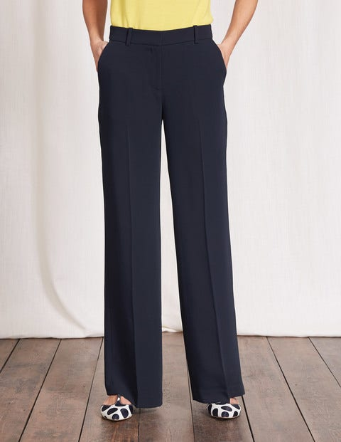1940s Style Pants & Overalls- Wide Leg, High Waist Camille Wideleg Trousers Navy Women Boden Navy £90.00 AT vintagedancer.com