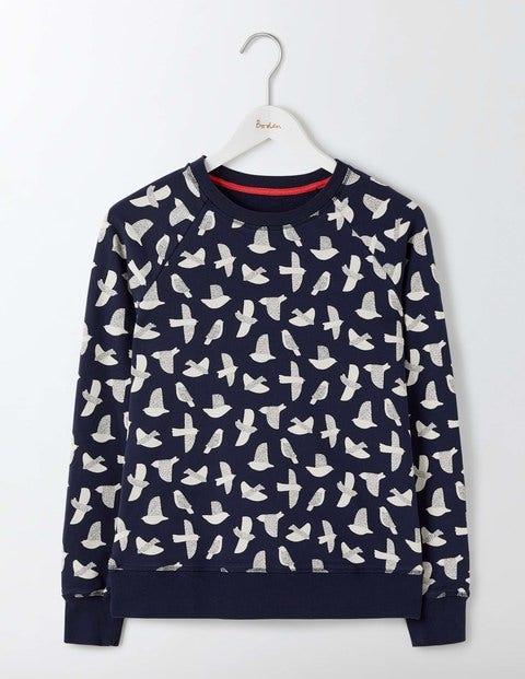 Statement Sweatshirt Navy Etched Bird Women Boden Navy Etched Bird