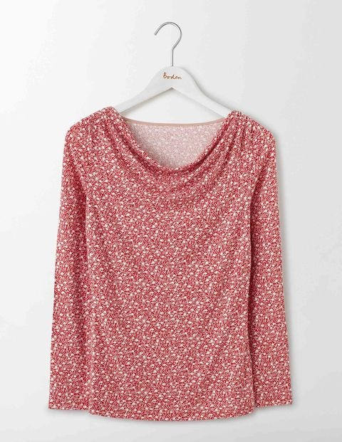 Kitty Cowl Neck Top Camellia Geo Bud Women Boden Camellia Geo Bud