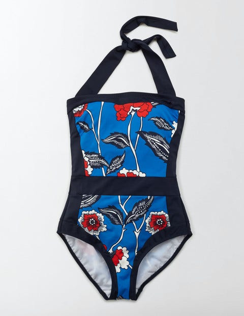1960s Style Swimsuits Santorini Swimsuit China Blue Maritime Floral Women Boden China Blue Maritime Floral £48.00 AT vintagedancer.com