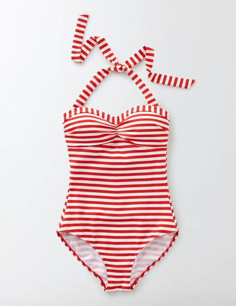 1950s Style Swimsuits, Bathing Suits, Swimwear Rimini Stripe Swimsuit SnapdragonIvory Stripe Women Boden SnapdragonIvory Stripe £65.00 AT vintagedancer.com