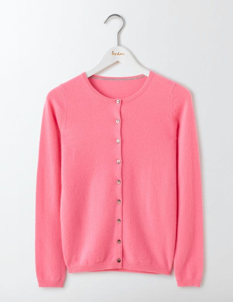1950s Style Sweaters, Crop Cardigans, Twin Sets Cashmere Crew Cardigan Pink Fizz Women Boden Pink Fizz £110.00 AT vintagedancer.com