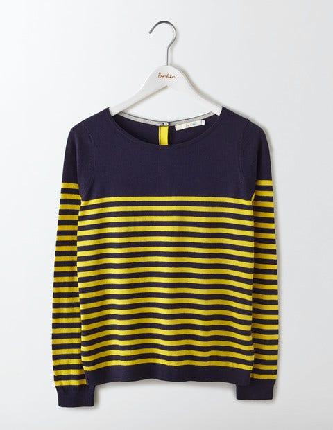 Tresco Stripe Sweater Navy/Mimosa Yellow Stripe Women Boden