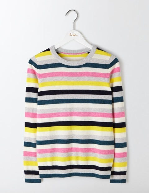 Cashmere Crew Neck Sweater Multi Stripe Women Boden