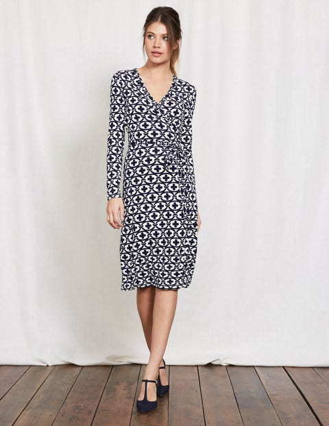 Wrap Dress Ivory Linked Floral Women Boden