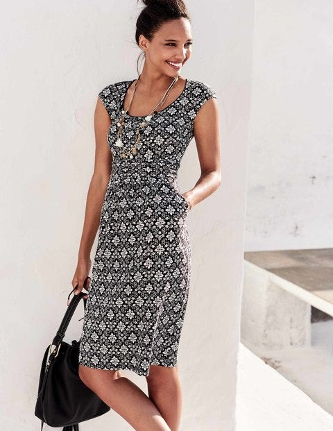 Margot Jersey Dress - Black Collage