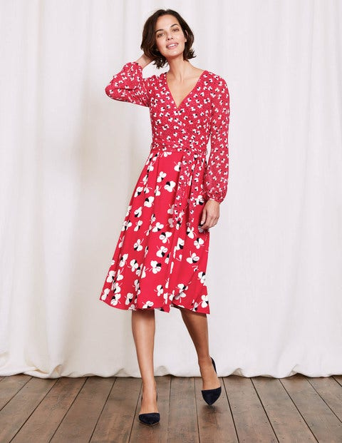 Eden Wrap Dress Camellia Large Pansy Floral Women Boden