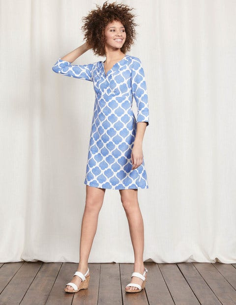 Casual Linen Tunic - Blue Dotty Tile