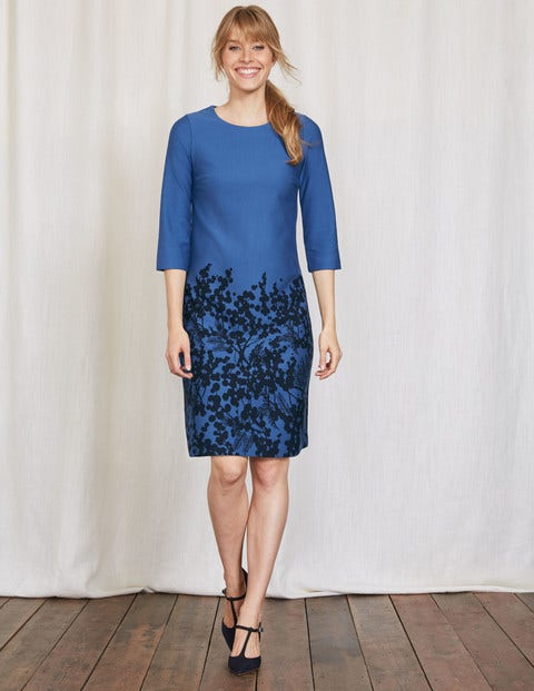 Lily Ponte Dress Blue Wisteria Bunch Women Boden