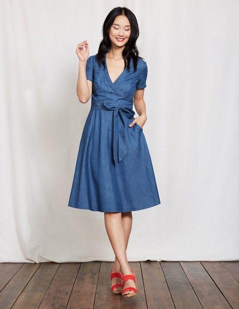 Lara Wrap Dress Chambray Women Boden