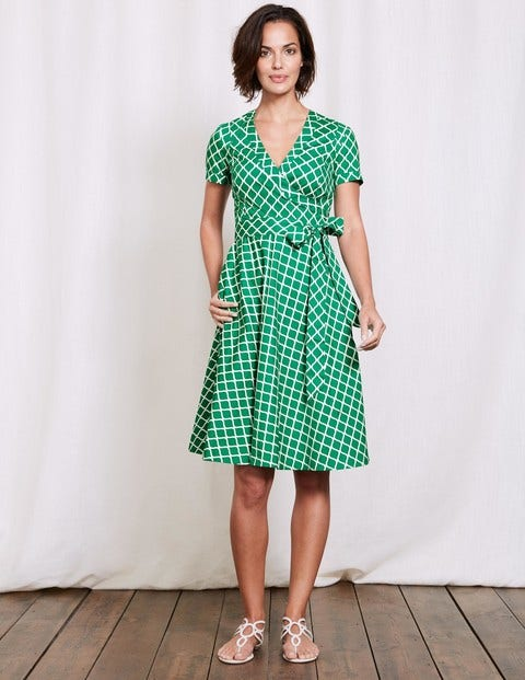 Lara Wrap Dress Meadow Green Geo Women Boden