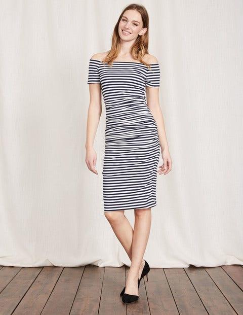 Off Shoulder Ruched Dress - Navy/Ivory Stripe
