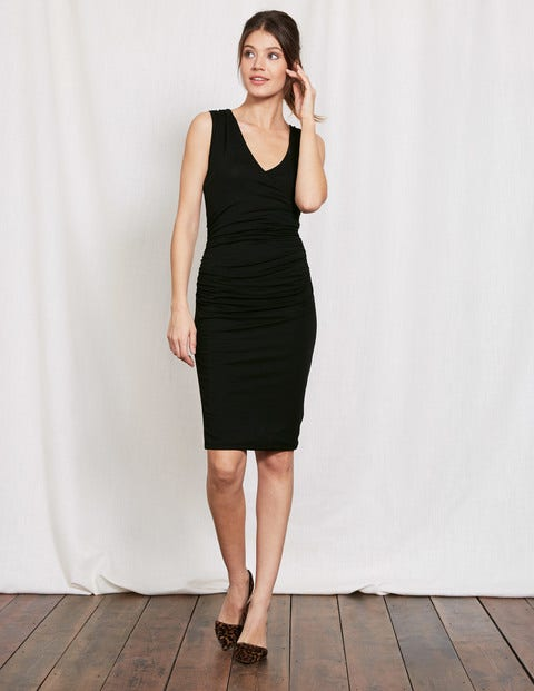 Crossover Ruched Dress Black Women Boden