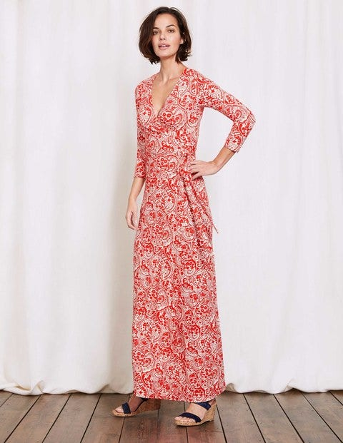 Wrap Maxi Dress Snapdragon Mono Paisley Women Boden
