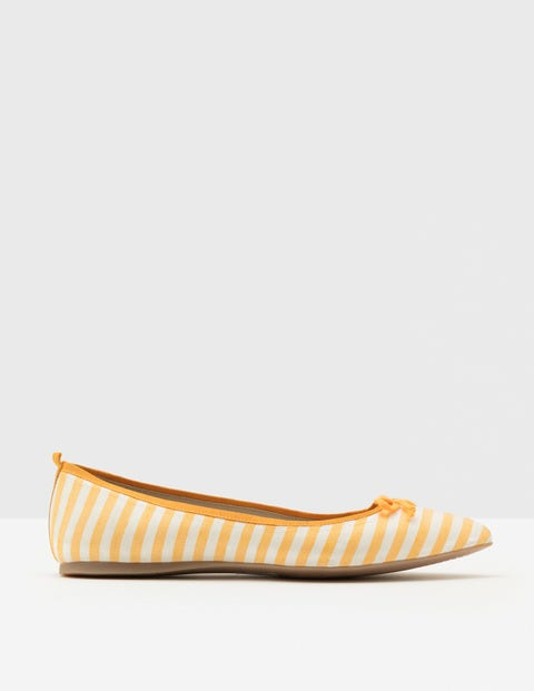 1960s Style Shoes Poppy Pointed Flats Saffron Stripe Women Boden Yellow £35.00 AT vintagedancer.com