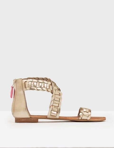 Eleana Woven Sandal Pale Gold Cow Foil Leather Women Boden