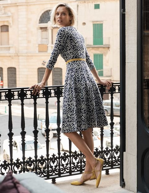 Fit And Flare Ponte Dress - Navy Blossom Spot