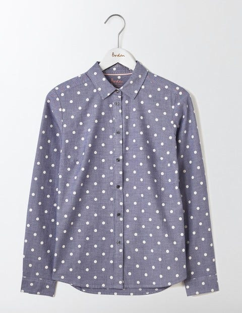 Shop 1960s Style Blouses, Shirts and Tops The Classic Shirt Chambray Spot Women Boden Chambray Spot £16.00 AT vintagedancer.com