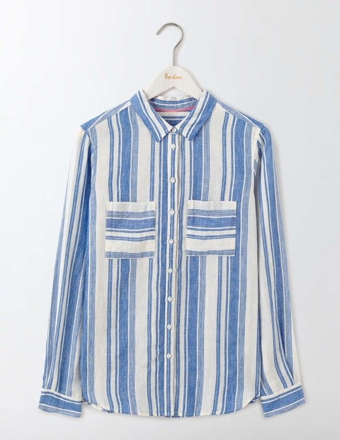 The Linen Shirt - Meadow Spring Stripe