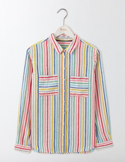 60s Shirts, Tops, Blouses | 70s Shirts, Blouses The Linen Shirt Candy Stripe Women Boden Candy Stripe £44.00 AT vintagedancer.com