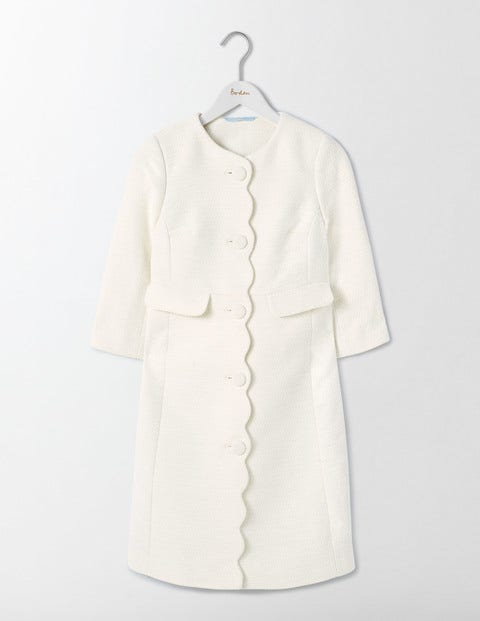 1950s Style Coats and Jackets Odetta Occasion Coat Ivory Women Boden Ivory £190.00 AT vintagedancer.com