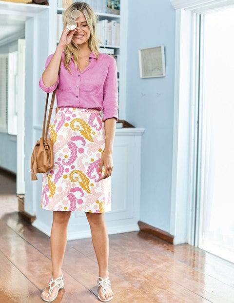 Printed Cotton A-Line Skirt WG702 Above Knee Skirts at Boden