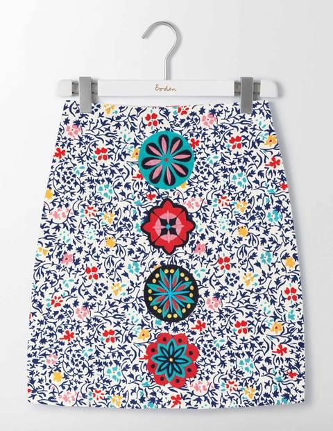 Katrina Skirt Ivory/Imperial Blue Mono Vine Women Boden