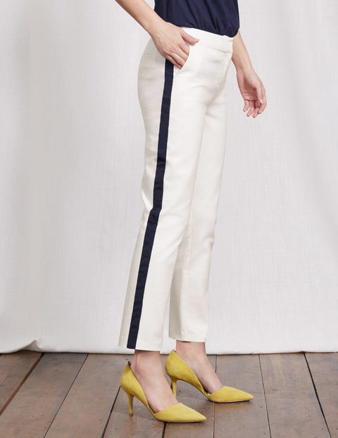 Richmond 7/8 Pants Ivory with Navy Tipped Women Boden