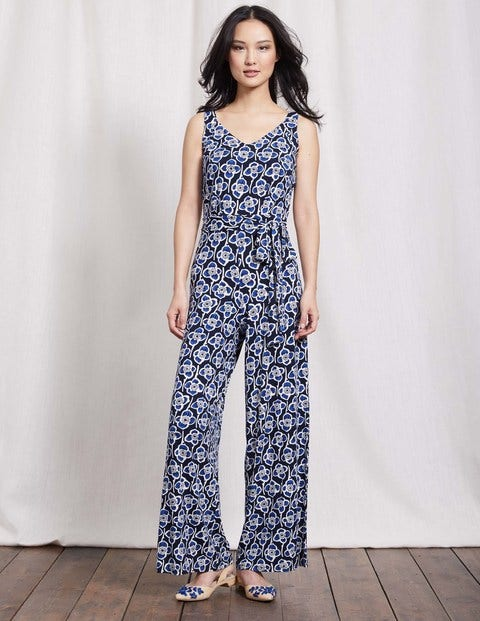 Ashley Jersey Jumpsuit Navy Large Graphic Floral Women Boden
