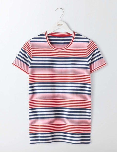 Lightweight Printed Crew Neck Tee Imperial Blue/Snapdragon Multi Women Boden