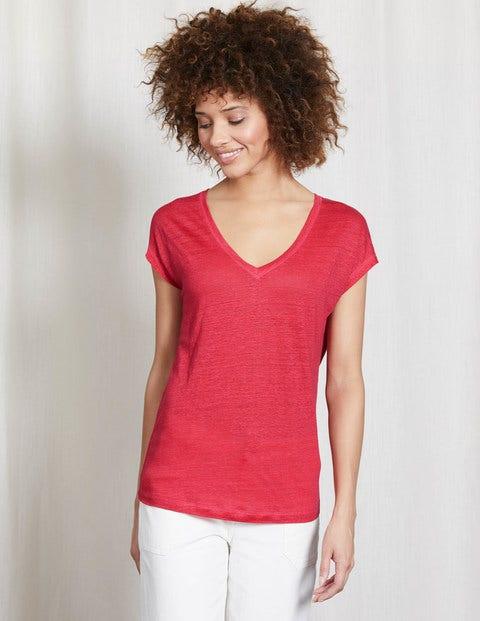 504fc095a06ac0 Leinen-T-Shirt mit V-Ausschnitt WO165 Tops mit Kurzarm bei Boden