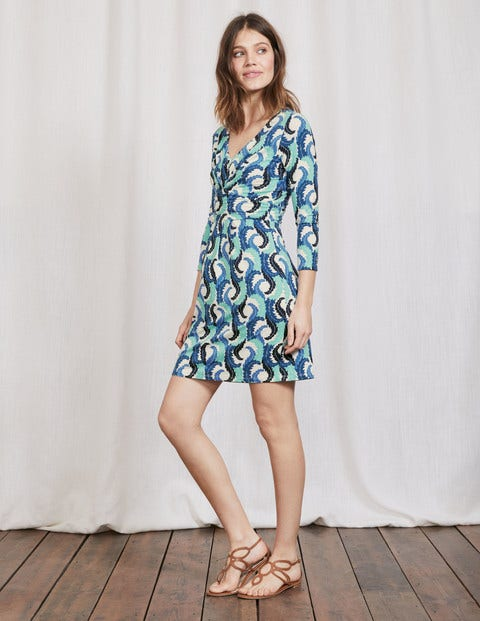 Marion Jersey Tunic Blues Acanthus Leaf Women Boden