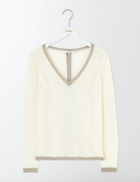 1960s Style Sweaters & Cardigans Alice Jumper Ivory Women Boden Ivory £35.00 AT vintagedancer.com