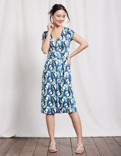 Summer Wrap Dress - Blues Acanthus Leaf